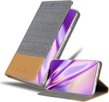 Flip Case Hülle Apple iPhone 12 /12 Pro Canvas Grau / Braun
