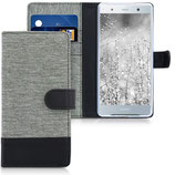 Wallet Case Sony Xperia XZ2 Canvas Grau