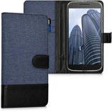 Wallet Case Motorola Moto G4 G4 Plus Canvas Dunkelblau-Schwarz