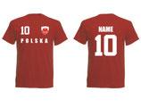 Polen WM 2018 T-Shirt Name/Druck Rot