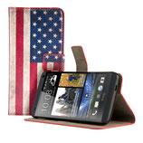 Leder Tasche HTC One M7 Flagge Amerika