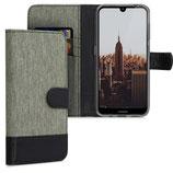 Wallet Case Hülle Nokia 4.2 Canvas Grau-Schwarz