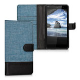 Wallet Case Hülle Wiko Robby Canvas Blau