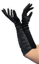 Deluxe Handschuhe lang Schwarz glänzend