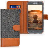 Wallet Case Samsung Galaxy J3 2017 Canvas Anthrazit Braun