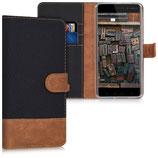 Wallet Case Hülle Nokia 6 Schwarz Braun