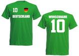 Deutschland T-Shirt EM 2016 Name/Druck Grün