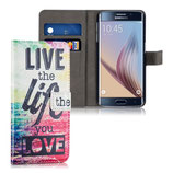 Wallet Ledertasche Samsung Galaxy S6 Edge Live the Life