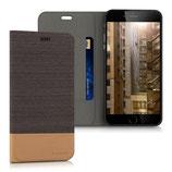 Flip Hülle Apple iPhone 6 / 6S Plus Canvas Anthrazit Braun