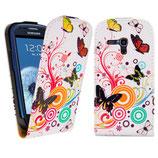 Leder Tasche Samsung Galaxy S3 Mini Schmetterling