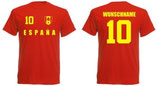 Spanien T-Shirt EM 2016 Name/Druck Rot