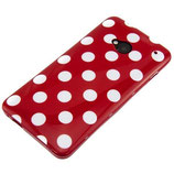 CASE HTC ONE M7 COVER HÜLLE POLKA ROT
