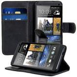 Wallet Leder Tasche HTC One M7 Schwarz