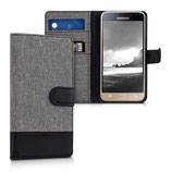 Wallet Case Canvas Samsung Galaxy J3 2016 Grau-Schwarz