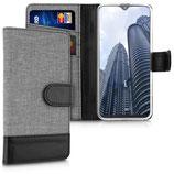 Wallet Case Samsung Galaxy A20e Canvas Grau-Schwarz