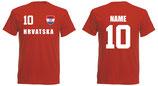 Kroatien WM 2018 T-Shirt Name/Druck Rot