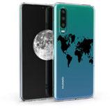 TPU Case Hülle Huawei P30 Weltkarte Schwarz