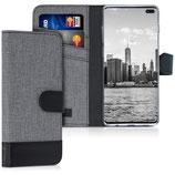 Wallet Case Samsung Galaxy S10 Plus Canvas Grau-Schwarz