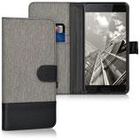 Wallet Case Hülle HTC U Ultra Canvas Grau-Schwarz
