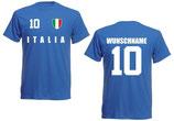 Italien T-Shirt EM 2016 Name/Druck Blau