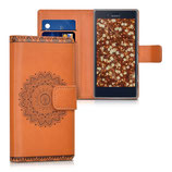 Wallet Case Hülle Sony Xperia X Compact Blume Braun