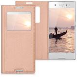 Flip Case Sony Xperia XA1 Fenster Rosegold