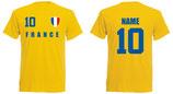 Frankreich WM 2018 T-Shirt Druck/Name Gelb