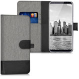 Wallet Case Samsung Galaxy S8 Canvas Anthrazit Braun