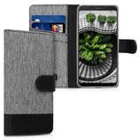 Wallet Case Hülle Xiaomi Redmi 6 Canvas Grau-Schwarz