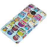 HARD CASE HTC ONE M7 EULE OWL HELLBLAU