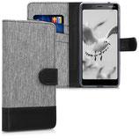 Wallet Case Hülle Nokia 5.1 (2018) Canvas Grau-Schwarz