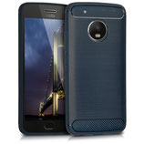 TPU Case Motorola Moto G5 Plus Brushed Carbon Dunkelblau