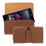 Leder Gürtel Tasche Sony Xperia Z1 Braun