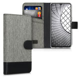 Wallet Case Samsung Galaxy A41 Canvas Grau-Schwarz