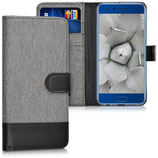 Wallet Case Hülle Huawei Honor 9 Canvas Grau-Schwarz