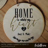 """Holzschild """"Home is ...."""" (20 cm)"""