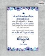 """Patenkarte A6 """"blau floral"""""""