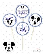 "12 Topper ""Mickey oder Minni"""