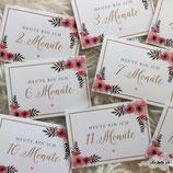"""30 Meilensteinkarten floral """"Mein erstes Jahr"""" 10,5 x 14,8 cm"""