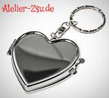 Schlüsselanhänger Metall Herz mit Innenspiegel  zum dekorieren