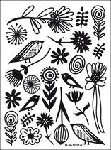 Decor Samt-Effekt Vögel Blumen