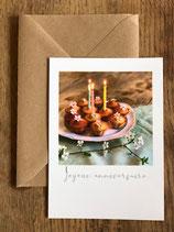 Carte postale vernie JOYEUX ANNIVERSAIRE (gâteaux)