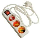 Arcas 3-fach Steckdose mit 1,5 Meter Anschlusskabel und Schalter inkl. Kindersicherung