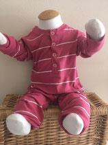 Babypakje donker roze/wit streepje