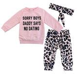 "3-delig pakje met de grappige tekst ""Sorry boys daddy says no dating""."