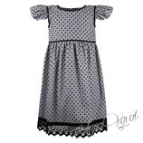 Festkleid/Tageskleid aus Cord in schwarz-grau