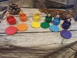 NEU 6er Set Männchen im Becher mit passenden Farbplatten