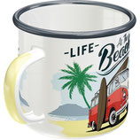 VW Bulli - LIFE is better at the BEACH - Emaille Tasse