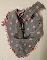 Dreiecksschal Grey/Pink dots