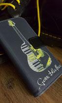 Handy Side Flip Tasche Gitarre (schwarz/gelb)